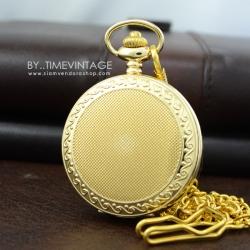 นาฬิกาแบบพกพาตัวเรือนสีทองระบบถ่านดีไซต์ Modern เรียบหรู