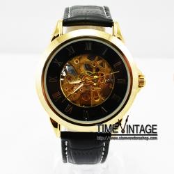 นาฬิกาข้อมือกลไก Simple Modern Colletion กรอบทอง หน้าปัดสีดำ (พร้อมส่ง)