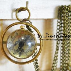 นาฬิกาพกทรงกลม ระบบไขลานกลไก ทองแดงแท้ 100%