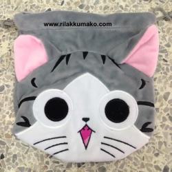 ถุงผ้าหูรูด แมวน้อยจี้จัง ขนาด 7x8นิ้ว