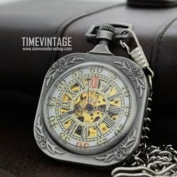 นาฬิกาพกไขลานทรงสีเทาสี่เหลี่ยมจัตุรัส Cube Mechanical Pocket Watch