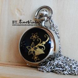 สร้อยคอนาฬิกาสีเงินฝาเซรามิคเพ้นท์ลาย Butterfly flower (พร้อมส่ง)
