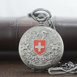 นาฬิกาพกของที่ระลึก Souvenir ดีไซต์ Swiss Nation ตัวเรือนสีเทาระบบถ่านควอทซ์ญี่ปุ่น