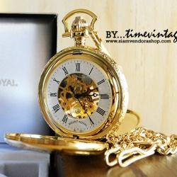 ***พรีออร์เดอร์***นาฬิกาพกกลไกไขลาน Mount Royal สีทอง เปิดฝาหน้า-หลัง