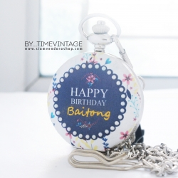 ของขวัญวันเกิดนาฬิกาพกเพ้นท์ชื่อ ประดับคริสตัลมุก ดีไซต์ White Flora (สั่งทำ)