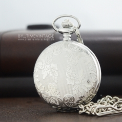 นาฬิกาพกฝาทึบล็อคเก็ตสีเงิน SILVER ลายไทยเถาวัลย์ ระบบถ่านควอทซ์ญี่ปุ่น