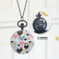 นาฬิกาสร้อยคอ ขนาดกลาง ลาย Mini-Heart สไตล์ Hipster ระบบถ่านควอทซ์ญี่ปุ่น (สั่งทำ)