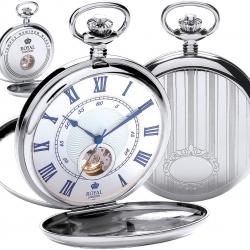 นาฬิกาพกกลไกไขลานเปิดสองด้านฝาหน้า-หลัง Royal London สีเงินเงา ***พรีออร์เดอร์***