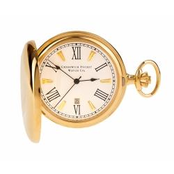 ***พรีออร์เดอร์***นาฬิกาพกควอทซ์สีทองเงาฝาหน้า-หลังเรียบแบรนด์ GREENWICH พร้อมฟังชั่นวันที่
