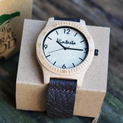 นาฬิกาข้อมือไม้Mapleแท้ สายหนังนิ่มcrazy horse ดีไซต์ Vanila Maple (พร้อมส่ง)