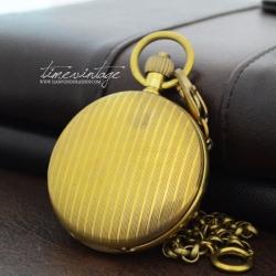 """นาฬิกาพกล็อคเก็ตกลไกไขลาน ลาย """"1900s Classic Copper"""""""
