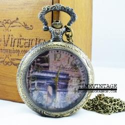 ***พร้อมส่ง***นาฬิกาพกควอทซ์ฝาคริสตัลวินเทจ-D ลาย Sweet Rome
