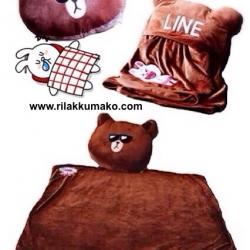 หมอนอิง หมีบราวน์ ด้านในซ่อนผ้าห่ม นิ่มมากๆ 3ฟุต