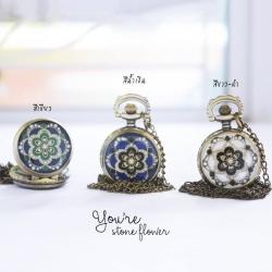 สร้อยคอนาฬิกาสีเงิน จี้ขนาดเล็กลาย Morocco สีขาว-ดำ