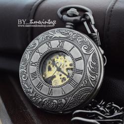 นาฬิกาพกไขลานลายโรมันเถาวัลย์แบบที่3 สีเทา