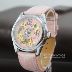 นาฬิกาข้อมือกลไก สีชมพู หน้าปัดพื้นฉลุเห็นเครื่องนาฬิกา (พร้อมส่ง)