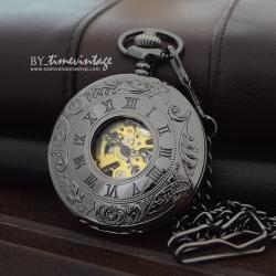 นาฬิกาพกระบบกลไกไขลานสีดำ เปิดได้2ด้านฝาหน้า-หลัง ลายเถาวัลย์ ฝาหลังเรียบ