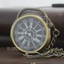 นาฬิกาพกรุ่นหน้าเปลื่อย ตัวเรือนสีทองเหลืองวินเทจ Antique Bronze Constellation