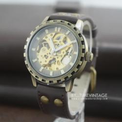 นาฬิกาข้อมือกลไสไตล์วินเทจ ขอบหยัก สีทองเหลืองขัด สายสีน้ำตาล (พร้อมส่ง)