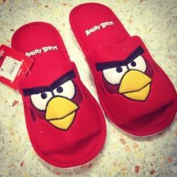 รองเท้าใส่เดินในบ้าน ขนาด Freesize ลาย Angry Birds แดง
