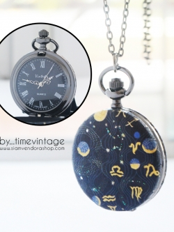 นาฬิกาสร้อยคอ ขนาดกลาง ลาย Universe Art ระบบถ่านควอทซ์ญี่ปุ่น (สั่งทำ)
