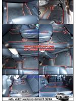 พรมปูพื้นรถยนต์ ALL NEW PAJERO SPORT ลายกระดุม สีดำขอบแดง เต็มคัน เข้ารูป100%