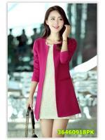 พรีออเดอร์ เสื้อโค้ท สีชมพู มีไซด์ M/L/XL/XXL