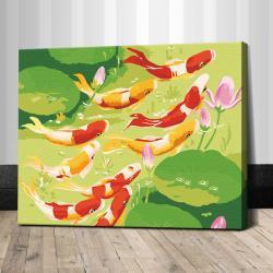 """TG060 ภาพระบายสีตามตัวเลข """"ปลาคาร์ฟเก้าตัวนำโชคลาภ"""""""