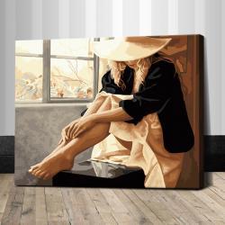 """TG184 ภาพระบายสีตามตัวเลข """"สาวนั่งริมหน้าต่าง"""""""
