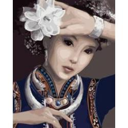 """MG271 ภาพระบายสีตามตัวเลข """"สาวจีนดอกไม้ขาว"""""""