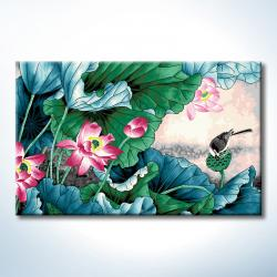 """TJ073 ภาพระบายสีตามตัวเลข """"นกน้อยเกาะฝักดอกบัว"""""""