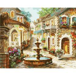 """MQ055 ภาพระบายสีตามตัวเลข """"น้ำพุกลางหมู่บ้าน"""""""