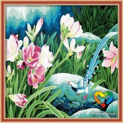 """TP013 ภาพระบายสีตามตัวเลข """"นกน้อยหางสวยกับดอกไม้ชมพู"""""""