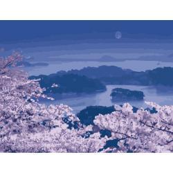 """MMC081 ภาพระบายสีตามตัวเลข """"ซากุระในเงาจันทร์"""""""