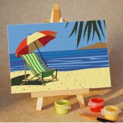 """TA049 ภาพระบายสีตามตัวเลข """"เก้าอี้ชายหาด"""""""