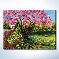"""TQ034 ภาพระบายสีตามตัวเลข """"ต้นสีชมพูในทุ่งดอกไม้"""""""