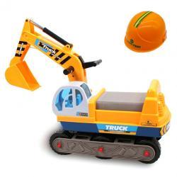 รถขาไถก่อสร้างสีเหลือง พร้อมหมวกกันน็อค