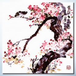 """TP017 ภาพระบายสีตามตัวเลข """"นกน้อยกลางดอกไม้บาน"""""""
