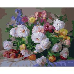 """MQ058 ภาพระบายสีตามตัวเลข """"ดอกไม้หลากสีกับจานแอปเปิ้ล"""""""