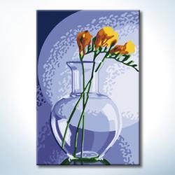 "TC093 ภาพระบายสีตามตัวเลข ""ดอกไม้เหลืองในแจกันแก้ว"""