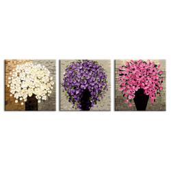 "TH084 ภาพระบายสีตามตัวเลข ชุด 3 ภาพ ""แจกันดอกไม้สามสี"""