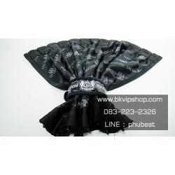 ผ้าม่าน Junction Produce Black ลายโลโก้ JP 1คู่พร้อมรางและสายรัดม่าน ผ้ามันเงา (Size M สูง41cm)
