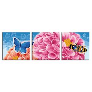 "TH025 ภาพระบายสีตามตัวเลข ชุด 3 ภาพ ""หมู่แมลงชมดอกไม้"""