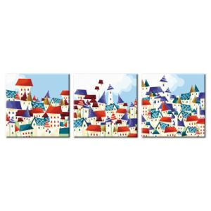 """TH034 ภาพระบายสีตามตัวเลข ชุด 3 ภาพ """"เมืองการ์ตูนในนิทาน"""""""