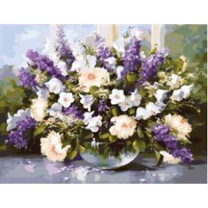 """MMC018 ภาพระบายสีตามตัวเลข """"ดอกไม้ในชามแก้ว"""""""