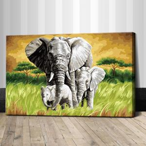 """TJ064 ภาพระบายสีตามตัวเลข """"ครอบครัวช้าง"""""""