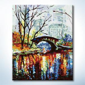 """TG121 ภาพระบายสีตามตัวเลข """"สะพานในสวนกลางเมืองใหญ่"""""""