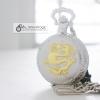 นาฬิกาพกพรีเมี่ยมสีเงินลายมังกรทองล่อแก้ว ของขวัญมงคล ระบบถ่านควอทซ์