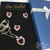 เซ็ทสร้อยคอ ต่างหู แหวน คริสตัลรูปหัวใจสีแดงทับทิม ล้อมเพชร