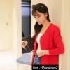 เสื้อคลุมไหมพรมกระดุมมุก แขนยาว Free-size สีแดงสด อก 32-36 ยาว 22 นิ้ว